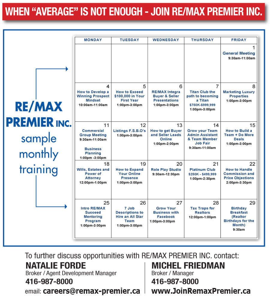 Training & Coaching Calendar Remax Premier